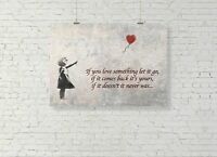 Banksy Graffiti Love Heart Balloon Girl Quote Picture Print Wall Art A2 Size