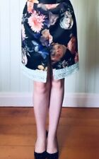 Black Navy Floral Satin Lace Straight Pencil Skirt Size 12 ~EugeniamDesigns New!