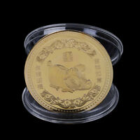 Gold Plated Pig Commemorative Coin Chinese Zodiac Souvenir Coin New Year Gift WG