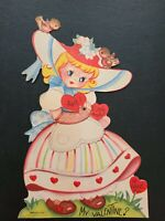 "Vtg Valentine Greeting Card Diecut Mechanical Southern Belle Girl ""I LOVE U"" 40s"