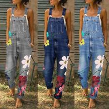Damen mit Blumenmuster bedruckte Overalls Latzhose Jeans Overall Lässige Trägerh