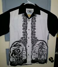 Lucky 13 Small 100% Rayin Button Front Shirt Black White Skeletons CC32