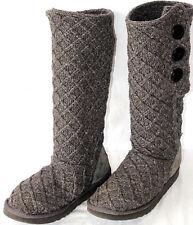 Ugg Australia Womens Lattiice Cardy Charcoal Knit Gray Boots Size 8