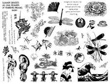 8 1/2 x 11 rubber stamp sheet Japanese wave, asian, oriental, geisha, koi #12