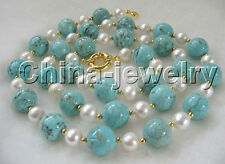 "P2500-30"" 9-10mm white freshwater pearl +14mm turquoise necklace-yellow GP clasp"