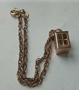 ANTIQUE 9CT  ROSE GOLD BRACELET WITH ANTIQUE ROSE GOLD CHARM,FULLY  HALLMARKED.