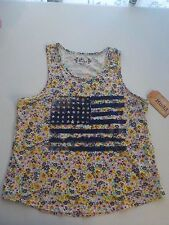 GIRLS SIZE 20 1/2 MUDD BRAND FLORAL TANK WITH AMERICAN FLAG NEW NWT #1100