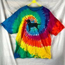 Unisex Rainbow Multicolour Spiral Tie Dye Black Dog Graphic T-Shirt Size Large