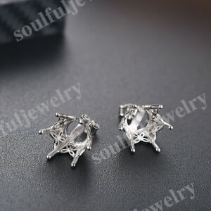 Round 10mm to 11mm Semi Mount Earring Special Solid 10k White Gold Prong Setting
