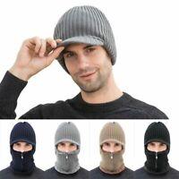 Mens Winter Hat Knit Visor Beanie Fleece Lined Billed Beanie with Brim Cap Warm