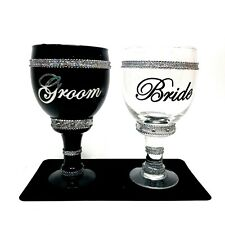 Bride And Groom Goblets Royale Pimpin Stein Jeweled Glass Set