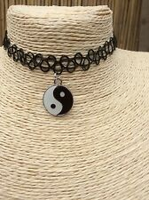 Black Tattoo Necklace Stretch Gothic Pendant With Ying Yang Charm