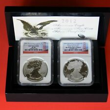 2012-S Silver Eagle 75 TH Anniversary Set PF 70 Reverse PF 70 NGC First Releases