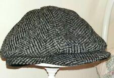 BURTONS MENSWEAR GREY/BLACK MIX TWEED FLAT CAP - SIZE M/L-BNWT