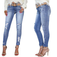 Womens Ripped Skinny Straight Long Denim Jeans High Waist Frayed Stretch Pants