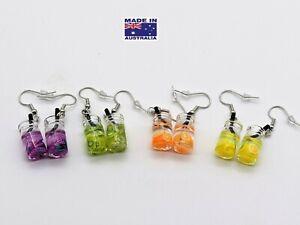 Mini 3D Fruit Drink Cocktail Mason Glass Novelty Drop Earrings Dress Accessory