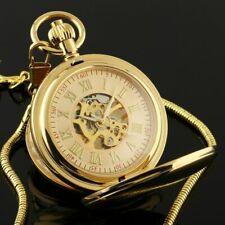 Men Pocket Skeleton Watch Mechanical Gold Double Hunter Hand-winding Chain Retro