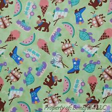 BonEful Fabric Cotton Quilt Green Turtle Dog Ice Cream Truck Cowgirl Retro SCRAP