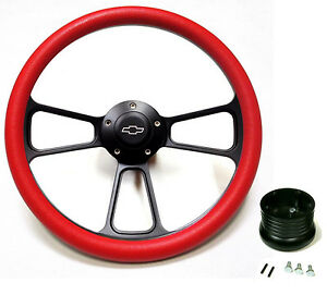 """1957 - 1963 Chevy Bel Air,  Impala 14"""" Red Steering Wheel + Chevy Horn + Adapter"""