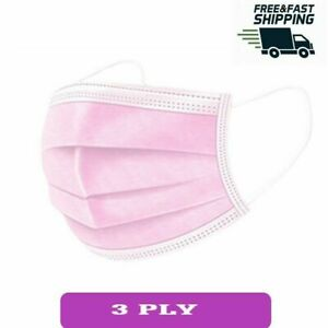 10 50 Pink Disposable Face Masks 3 Ply Face Covers Mask