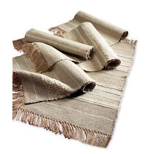 Fair Trade Slubweave Cotton & Jute Natural Colour Rugs in 3 Sizes