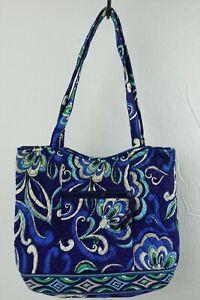 "Vera Bradley Floral Blue Black Hand Bag Women's Purse 13"" x 11"""
