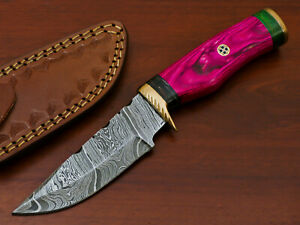 HAND FORGED DAMASCUS STEEL HUNTING KNIFE-HARD  WOOD HANDLE- AD-7230