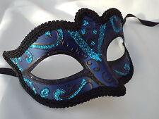 VENEZIANO Masquerade Maschera Party Fancy Dress Prom Nero Turchese Blu