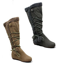 WOMENS CASUAL FLAT ROPE POM POM MID CALF BOOTS LADIES SHOES NEW SIZE 3-8