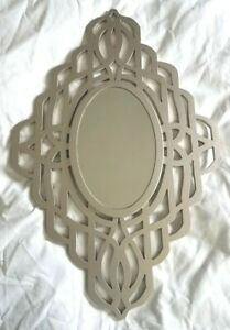 Wooden Oval Wall Mirror Steel Gray Color Celtic Knot Design