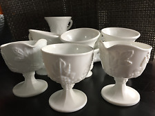 Milk Glass with Grapes : Plates, Cups Creamers and Sugar Bowl