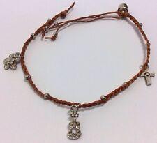 Brown String Macrame Charm Large Male Womens Anklet Bracelet Guitar Cross Flower