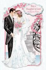 Art Deco Figlio & in Legge Matrimonio Biglietto D'auguri Grande Carta Di Lusso