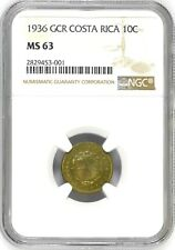 Costa Rica: 10 Centimos 1936 GCR, NGC MS-63, KM# 174 Brass Coin
