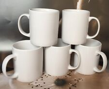 Set of 5 NEW PLAIN WHITE MUGS tea coffee MUG CUP KITCHEN - 300 ml