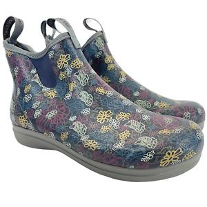 """Lacrosse Womens Rubber Rain Boots Hampton Modern Flower 6"""" Boots Women Size 10"""