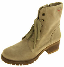 Womens Suede Leather s.Oliver Ladies Military Zip Ankle Boots Sz Size 4 5 6 7 8