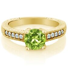 1.50 Ct Green Peridot White Created Sapphire 18K Yellow Gold Plated Silver Ring