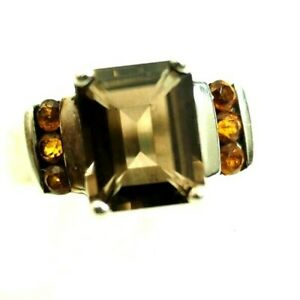 Classy Ladies Smoky Topaz and Citrine Ring Sterling Silver Size 7.5