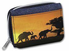 Elephants Silhouette Girls/Ladies Denim Purse Wallet Christmas Gift Idea, AE-4JW