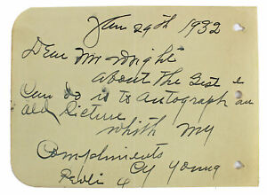 Cy Young Authentic Signed 4.25x6 Handwritten Note Album Page JSA #BB34368