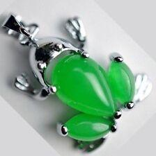 Beautiful green jade frog necklace Tibet silver pendant