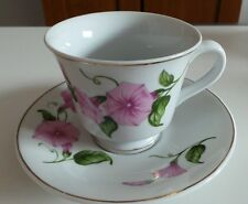 Vintage Ceramic Tea Cup and Saucer with Purple Flowers