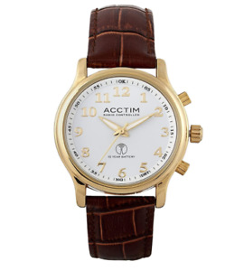 Acctim Oro Radio Controlled Watch With 10 year Battery & Brown Leather Strap New