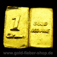 3X 1 Grain PURE SOLID .9999 24k FINE GOLD BAR, Bullion, Nugget, Coin,Certificate