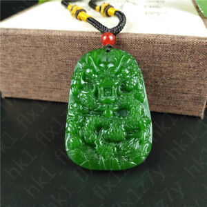 Green Jade Dragon Pendant Jadeite Necklace Lucky Amulet Fashion Charm Jewelry