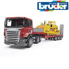 Bruder 03555 Scania R-Series Low Loader Truck & Caterpillar CAT Bulldozer 1:16