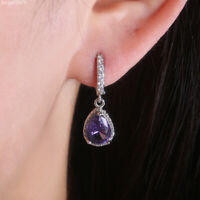 18K Gold Plated CZ Purple Tear Drop Dangle Hook Earrings for Women Jewelry Gifts
