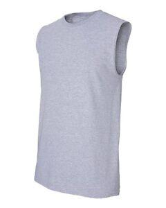Men Ultra Cotton Sleeveless Tank T-Shirt Muscle Gym Workout Plain Tee 2700