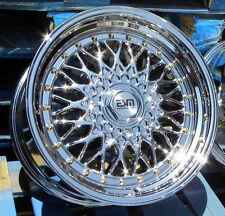 """Chrome 17x8.5 17"""" RS Style Wheels Rims 5x100 5x114.3 ESM 002R Subaru  Honda VW"""